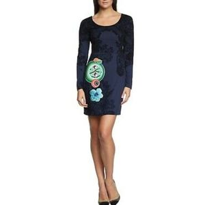 Desigual Martina Felted Embroidered Sequin Dress
